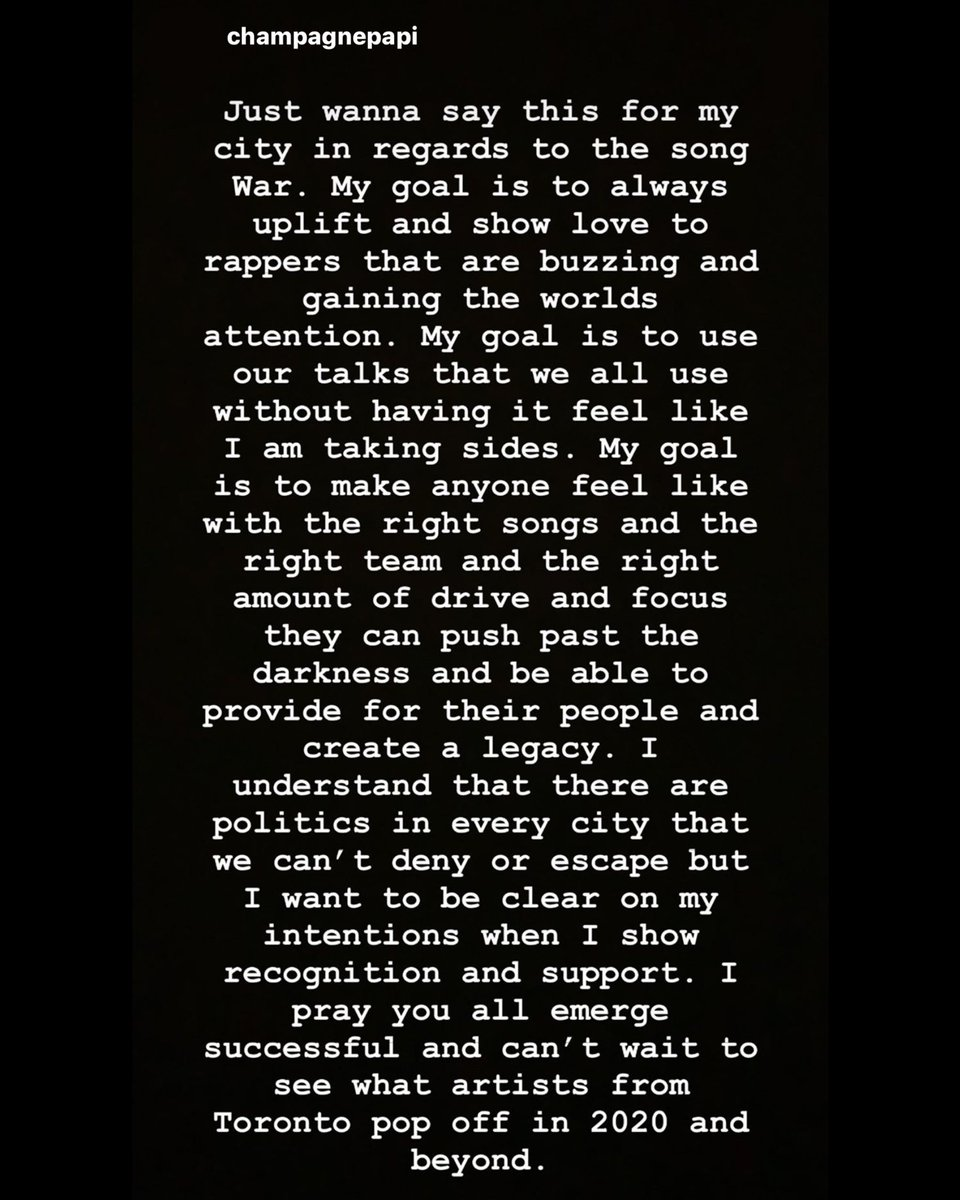 """#Drake had this to say in regards to his song """"WAR"""" and more... thoughts?!👇🤔 @Drake"""
