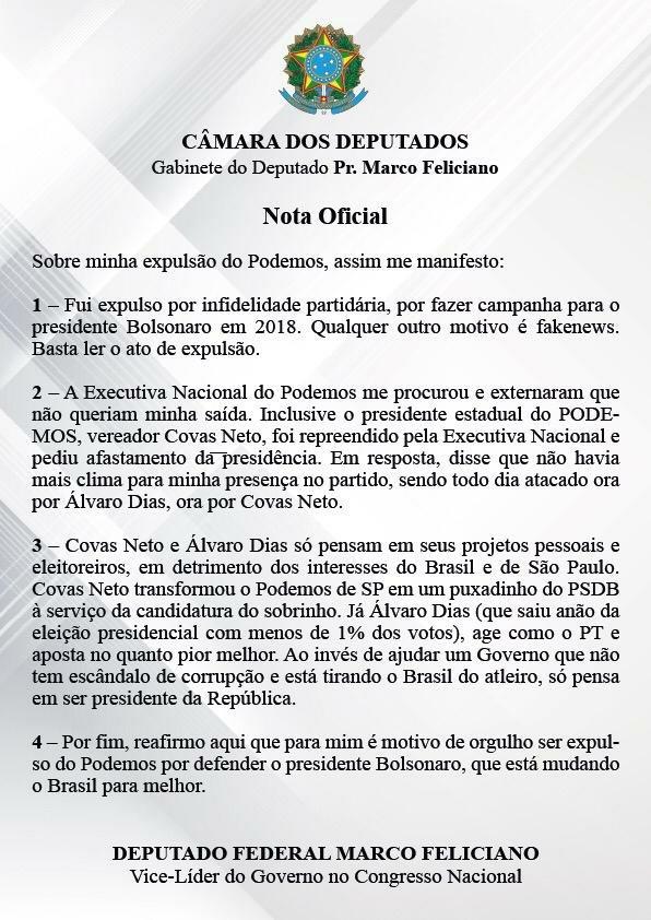 Nota de Marco Feliciano após expulsão do Podemos