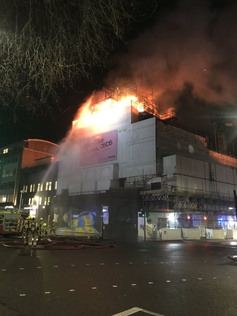 Fire at the Koko music venue. Firefighters at the scene.