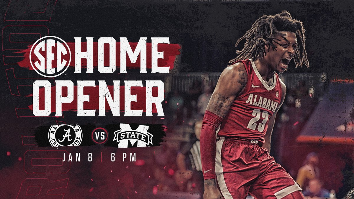 Catch @AlabamaMBBs SEC home opener on Wednesday night against Mississippi State! 🎟 bit.ly/2Qtx4Sn