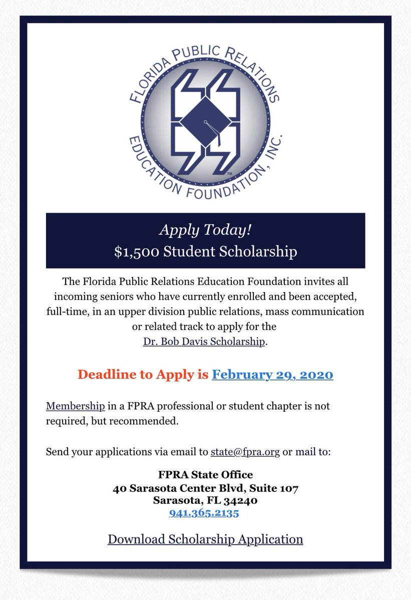 Scholarship opportunity: fpra.org/wp-content/upl…