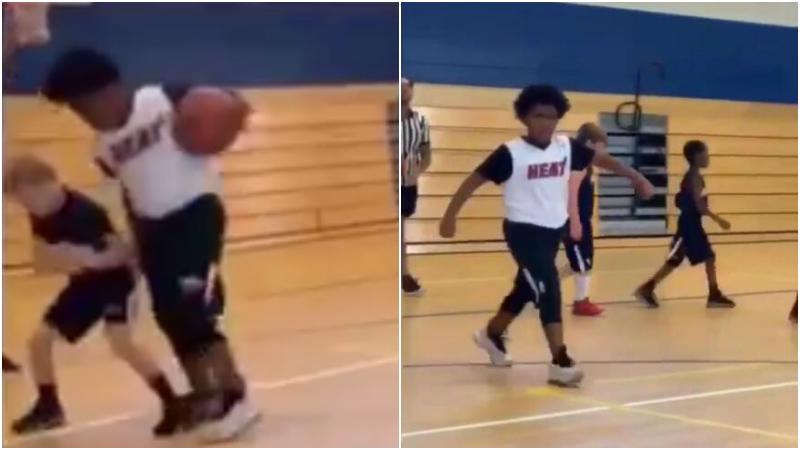 【影片】球場巨無霸!Perkins的8歲兒子宛如「歐尼爾」,抄截對手霸氣慶祝,身材碾壓同齡人!