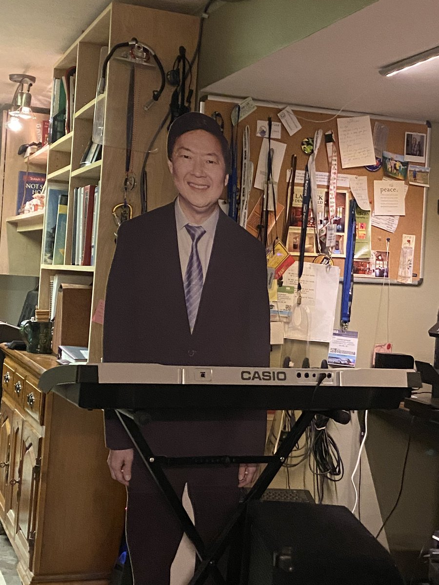 Someone burned down my roommates and I's @kenjeong cardboard cut out. Not sure if it's worth it to try and get another. Rip Ken Jeong cardboard cut out.