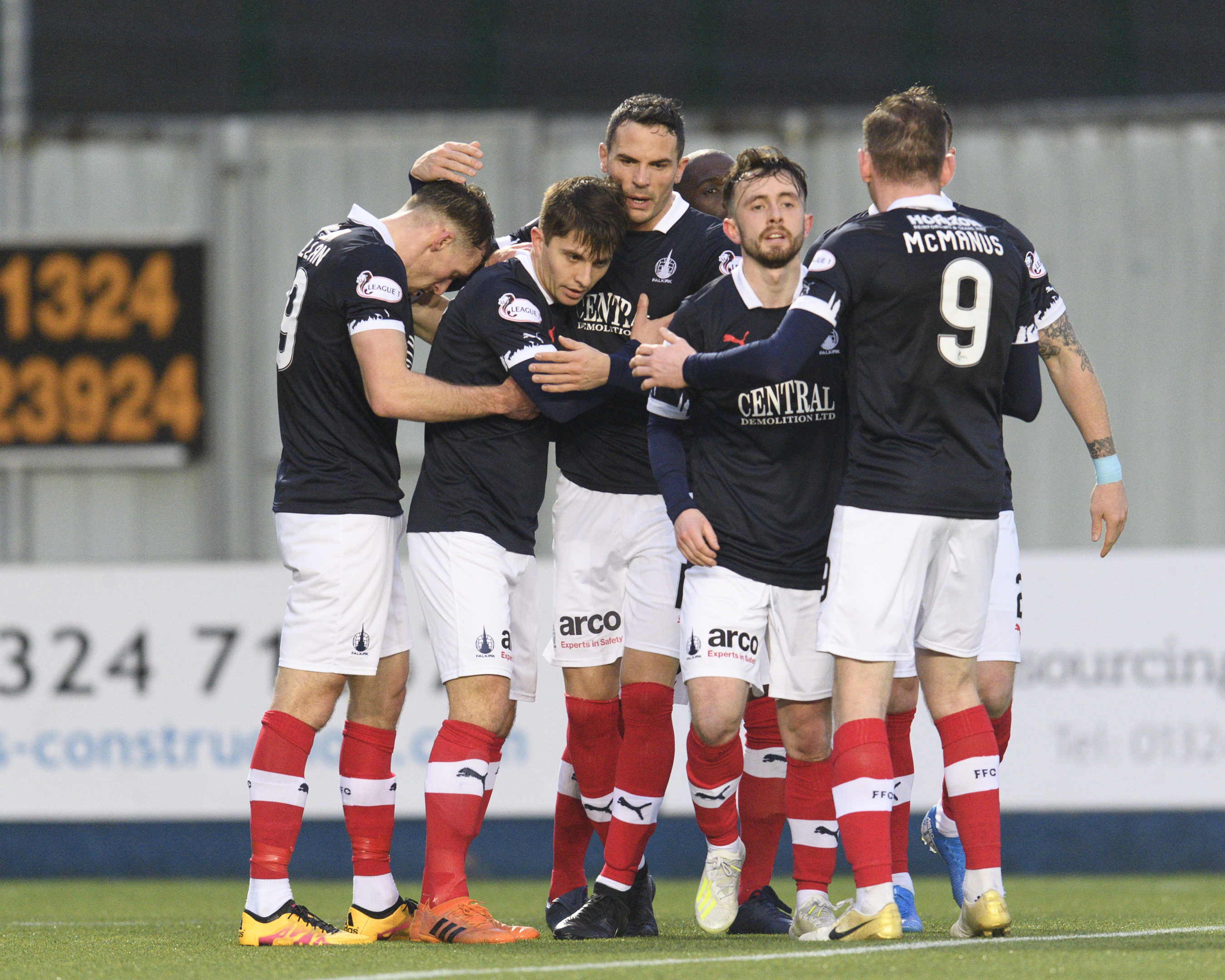 Falkirk players celebrate a goal in the 3-0 win over Dumbarton
