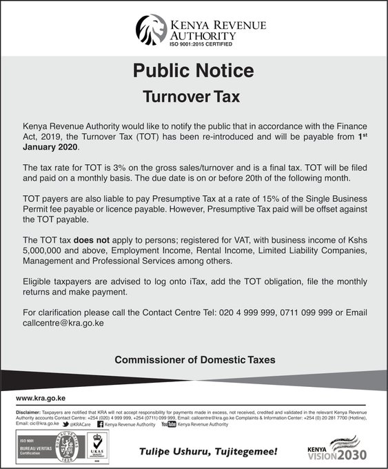 KRA Public notice on Turnover Tax Payment.