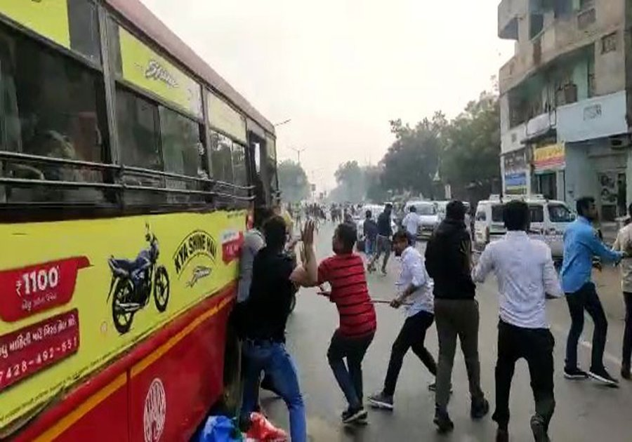 Clash between ABVP and NSUI workers in Ahmedabad over NSUI protest programme at Gujarat ABVP headquarters