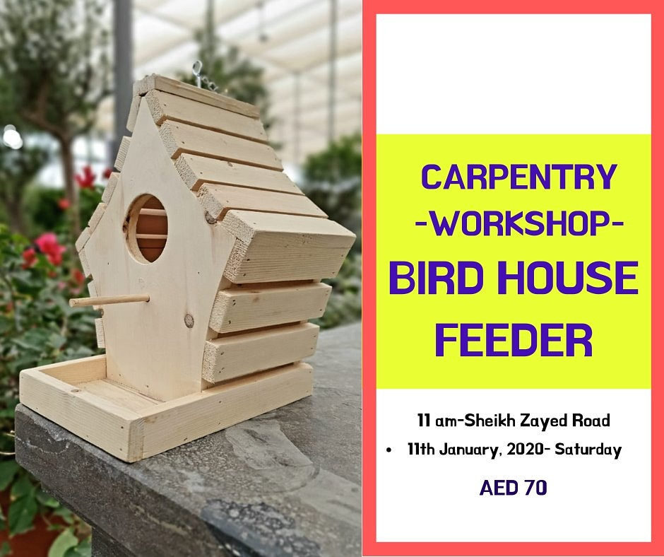 Beautiful #birdhouse feeder Another fun #carpentry #workshop for your little ones!  Hurry!  DM for registrations #jumeirah #dubaievents #dubaievent  #workshopforkids #diy #diywoodwork  #carpentrywork #workshopforchildren #woodworkforkids #woodskills #dubaiworkshoppic.twitter.com/bZElEb5CFo