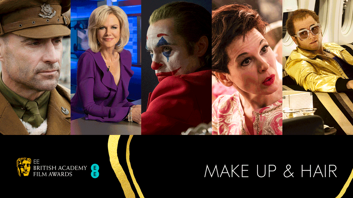 The nominations for Make Up & Hair: 🎥 1917 🎥 Bombshell 🎥 Joker 🎥 Judy 🎥 Rocketman #EEBAFTAs