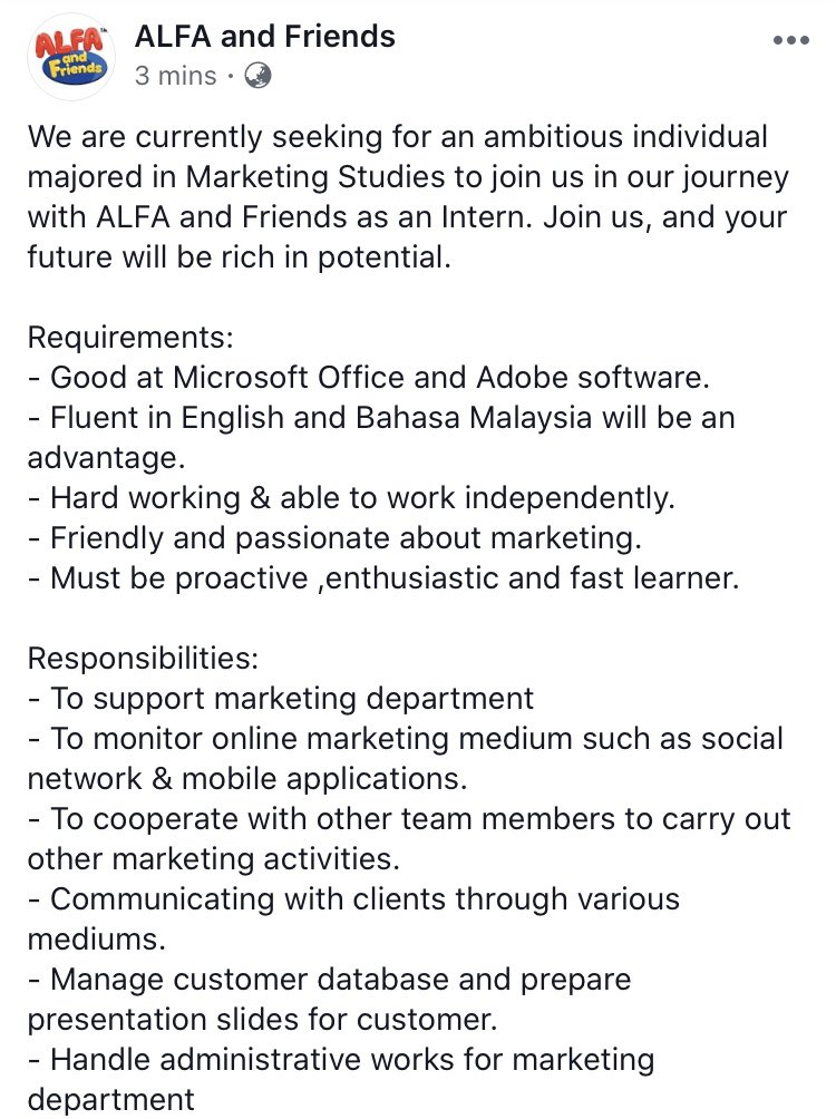 We are currently seeking for an ambitious individual majored in Marketing Studies to join us as an Intern.   @MauKerjaMY  @JobStreetMY  @InternMalaysia  #ALFAandFriends https://t.co/S98p2xSTy6