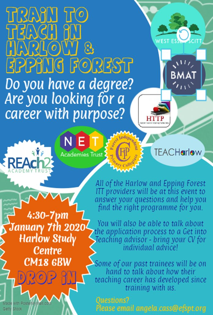 Are you interested in a career in Teaching - we are hosting a Train to Teach event - Today 4.30pm - 7.00pm Harlow Study Centre.