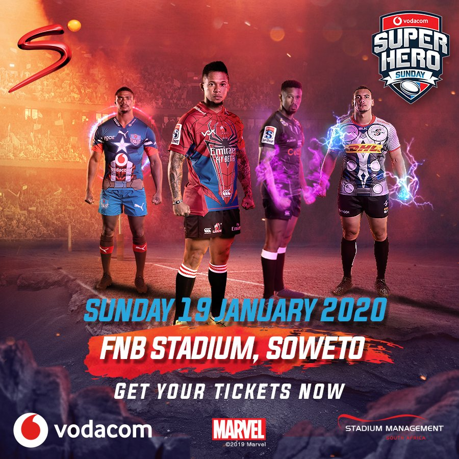 """Win 4⃣ tickets to @Vodacom #SuperHeroSunday on 19 Jan 2020 at FNB Stadium in Soweto. 🛡️ Captain America 🔨 Thor 🕷️ Spider-Man 🐾 Black Panther Let us know which character you are coming dressed as by sending an SMS to 37942, using the keyword, """"SuperHeroSunday""""."""