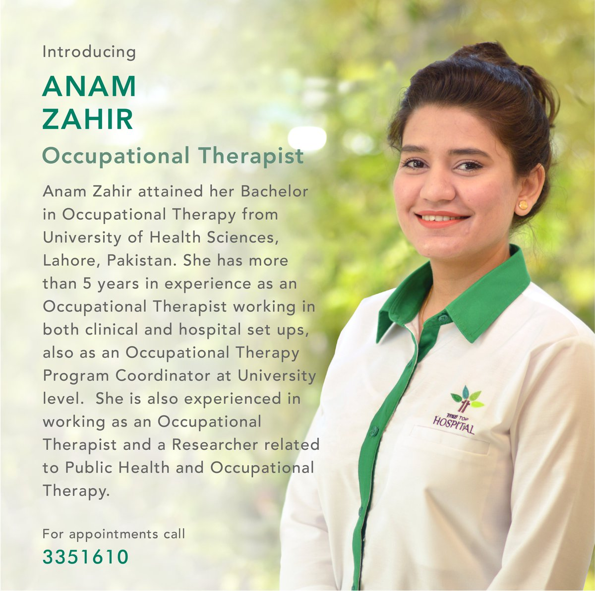 Anam Zahir, Occupational Therapist (އަނަމް ޒާހިރު، އޮކިއުޕޭޝަނަލް ތެރަޕިސްޓް)  Learn more:http://bit.ly/2Xpbtg3   For more information call 3351610.  #treetophospital #tth #treetop #maldives #health #healthcare #excellenceinhealthcare #rehabilitation #occuptationaltherapypic.twitter.com/5jJmFoTQFv