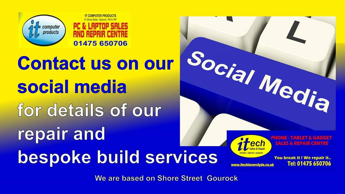 Perhaps you can't manage into the @ITComputerPro or @itechInverclyde shops in #Gourock, #Inverclyde #Scotland when you need advice on our products, so why not use our social media to ask your questions via Personal Message. #MobilePhones #Computers #GamingConsole #Repairspic.twitter.com/CQkNRmzAul