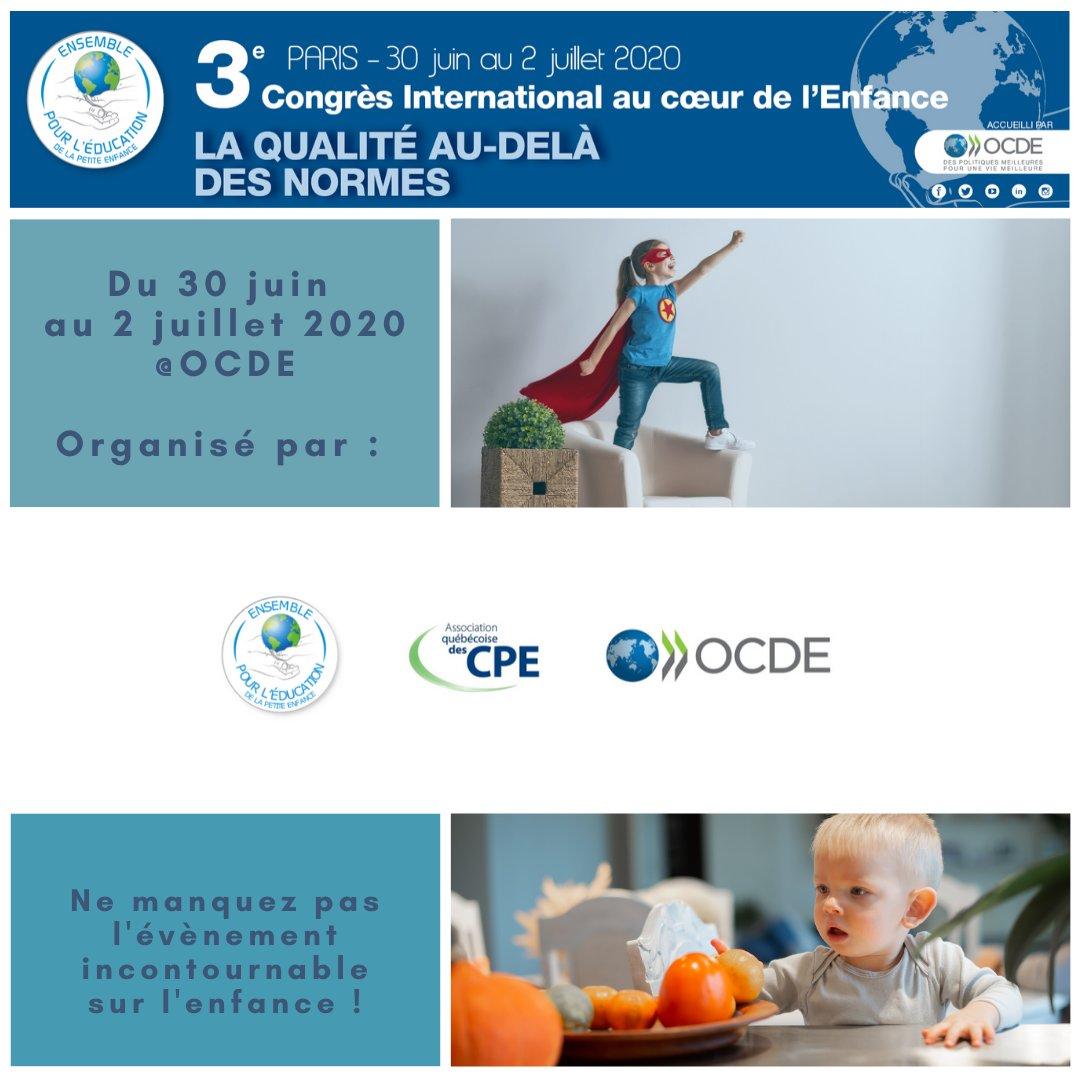 [Congrès 2020 🌏]  Nous l'avons annoncé en fin d'année, nous organisons le 3ème Congrès International au coeur de l'Enfance à Paris du 30 juin au 2 juillet 2020 à l'OCDE. 🗣 Le hors-norme de qualité sera t'il la norme de demain ? https://t.co/yFSEbCd9oh  #OCDE #OECD #enfance https://t.co/UpwU8JnFwK