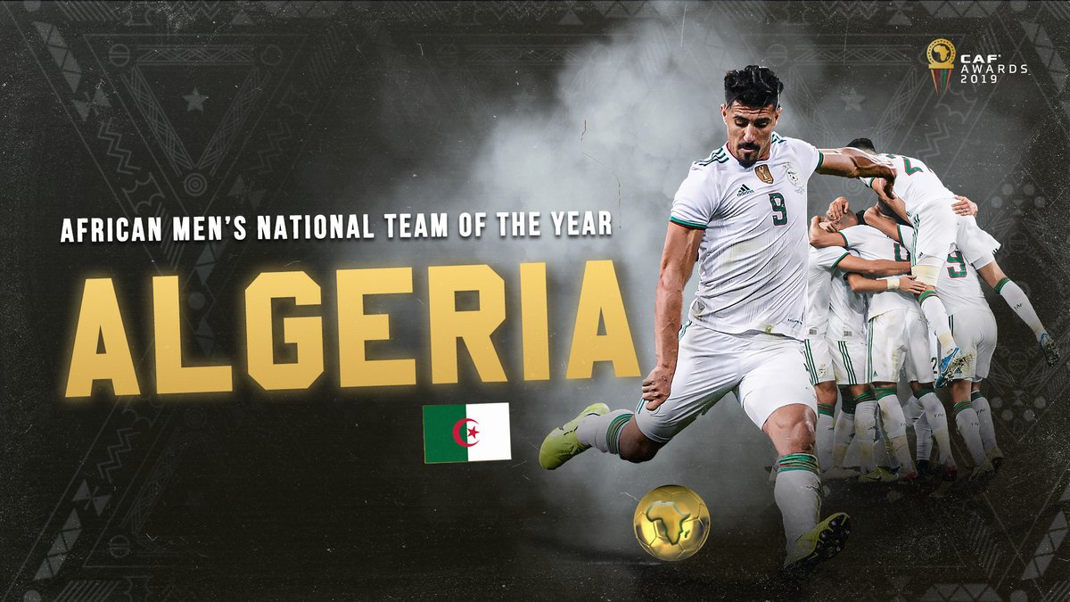 BREAKING!  Algeria named African Men's Team of the Year! 🇩🇿 #CAFAwards2019   What a year the desert foxes had! 🦊   @LesVerts  #CAFAwards2019 https://t.co/j4NugpDEqN