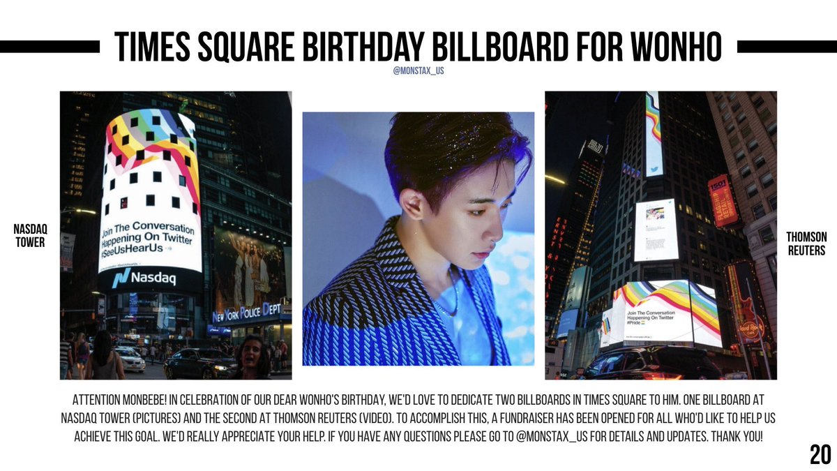 Monbebe, we want to give Wonho a special gift for his birthday. This year we would like to put a birthday ad up in Times Square!  Donation form and more Info:   PayPal pool:   @OfficialMonstaX #몬스타엑스 #MONSTA_X #WONHO #원호