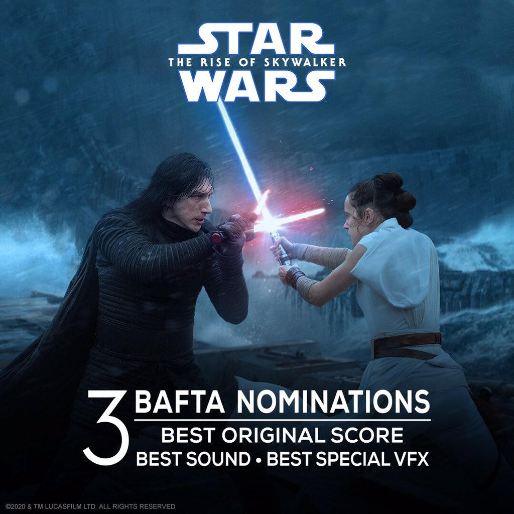 Congratulations to Star Wars: #TheRiseOfSkywalker on their three #EEBAFTAs Award nominations for Best Original Score, Best Sound, and Best Special Visual Effects.