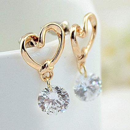 Heart Leverback Earrings 18K White Gold Plated Dangle Drop Crystal Earrings for Women Girls Gift for Valentine Wedding Anniversary #girls #shopping