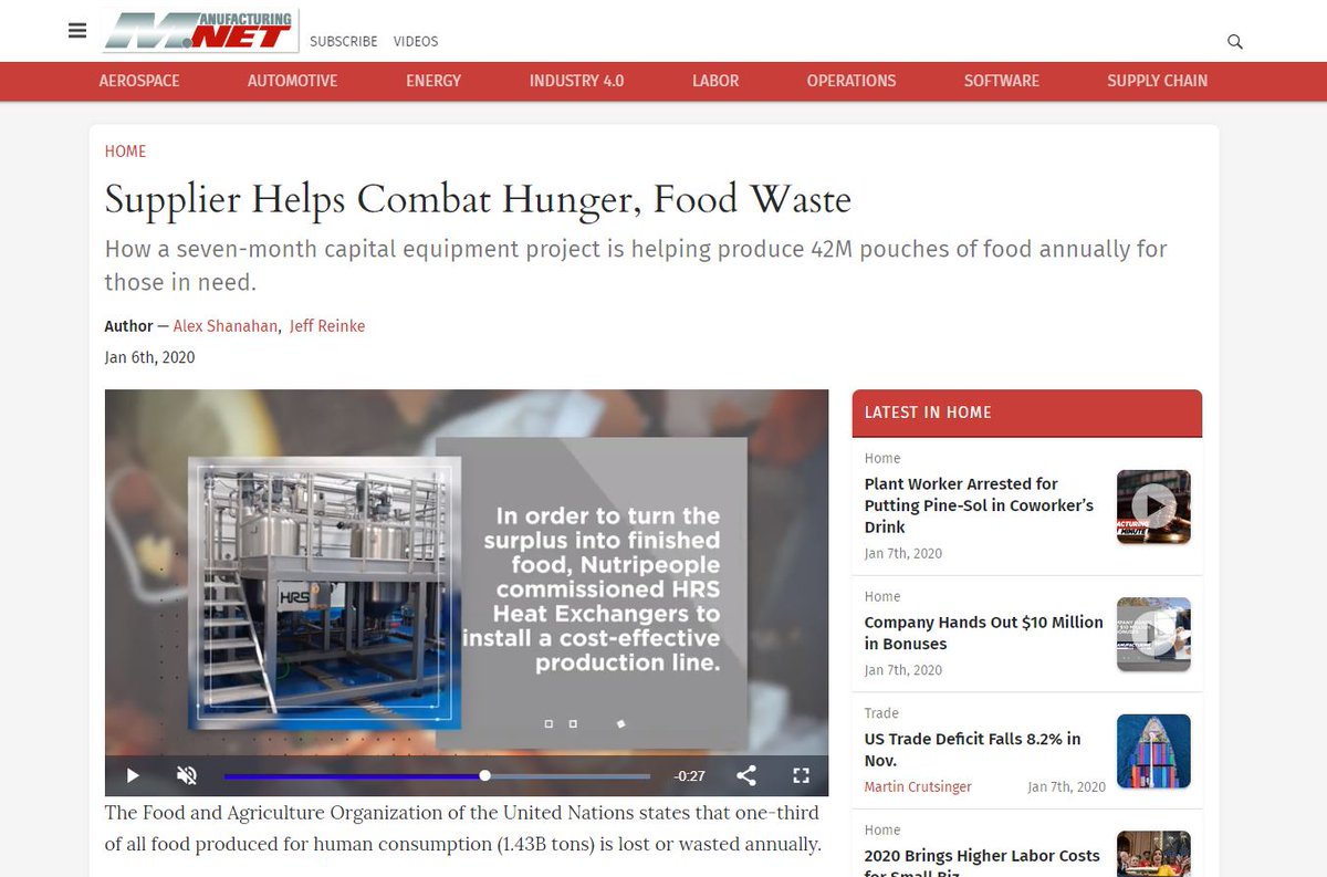 test Twitter Media - How a seven-month capital equipment project is helping produce 42M pouches of food annually for those in need. As featured in https://t.co/XXkOgTHTl3 @MnetNews . Read full article: https://t.co/4kTrT8uQKf. @Nutripeople_org #foodprocessing #heatexchangers https://t.co/XN40G24bAY