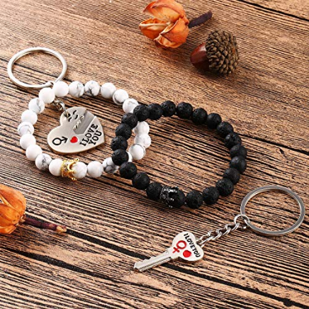 Gejoy Couples Bracelets Beads Bracelet Long Distance Bracelet and Key to Unlock My Heart #Keychains for #Lovers, #Friends https://amzn.to/2QuivhA