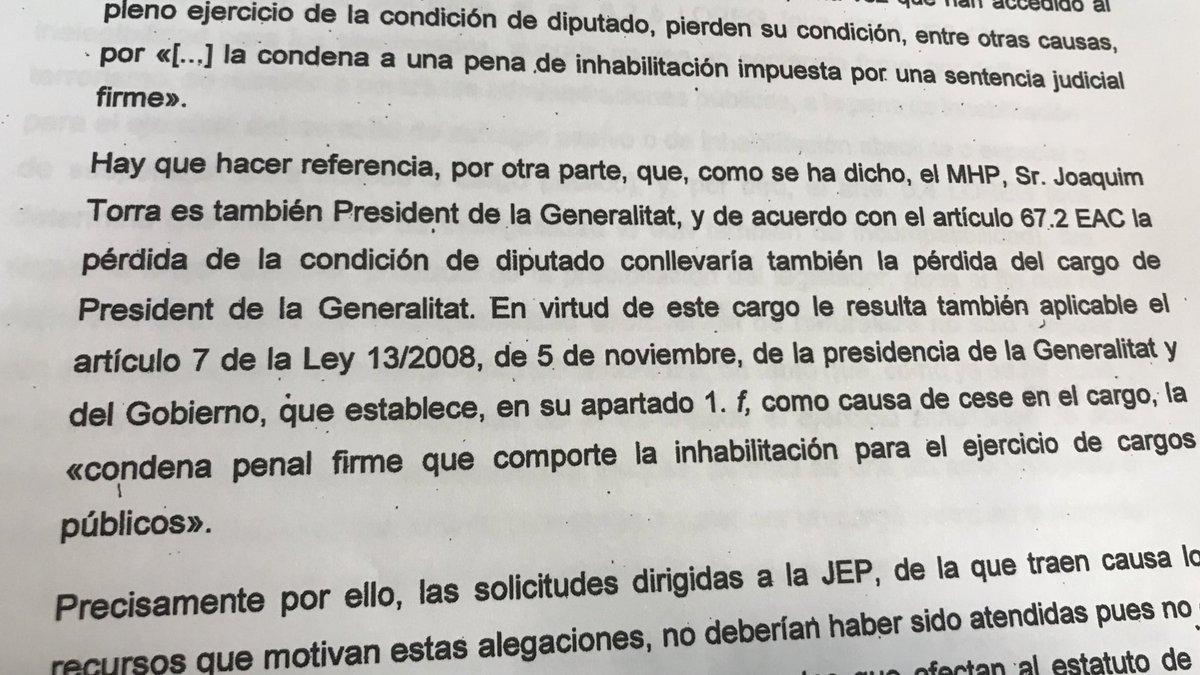 El Parlament: la pérdida de condición de diputado implica la pérdida de condición de 'president'