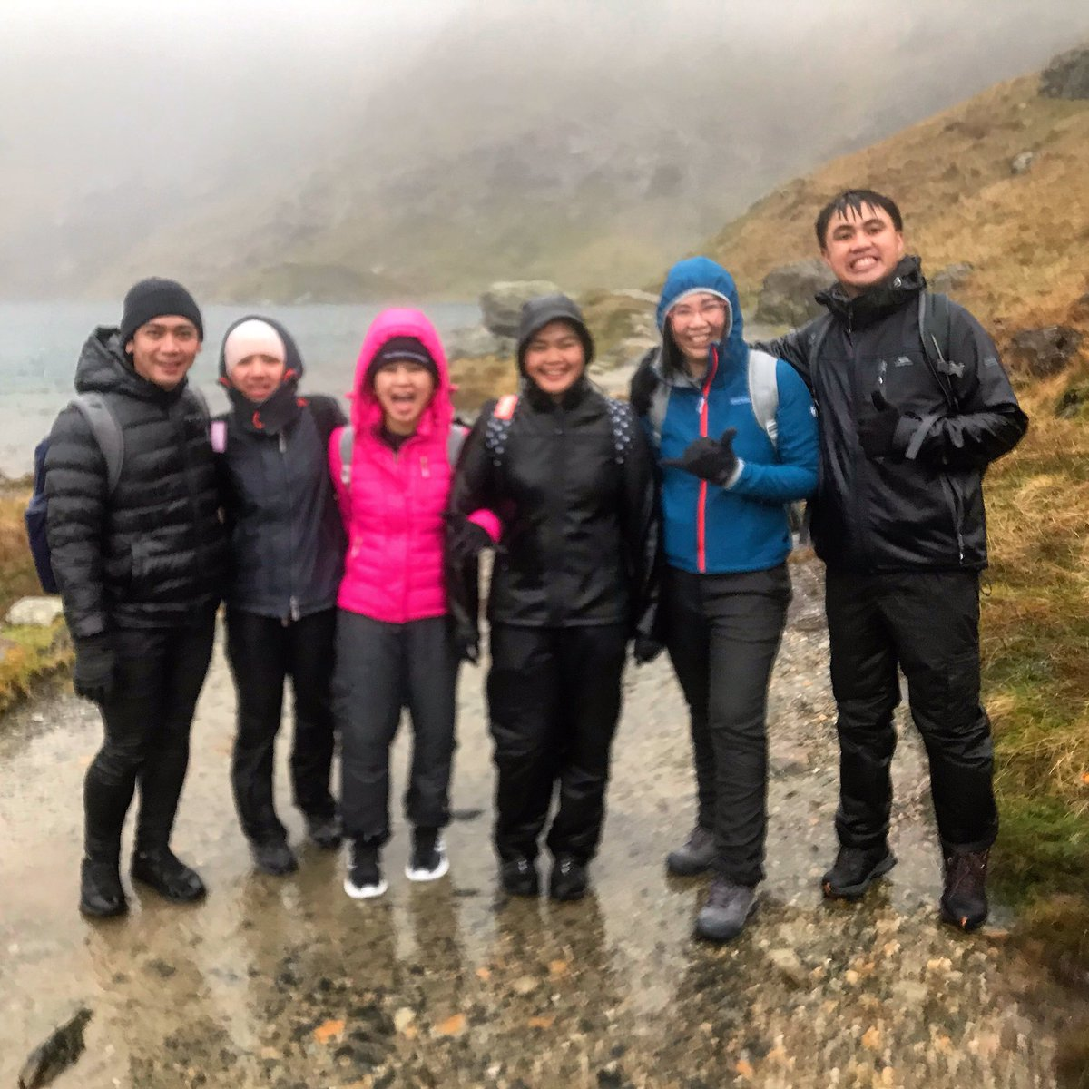 No summit today but an invigorating walk in some pretty awful weather! Fortunately my team had a good sense of humour and not easily put off #nurses 💪🏽#wetthrough