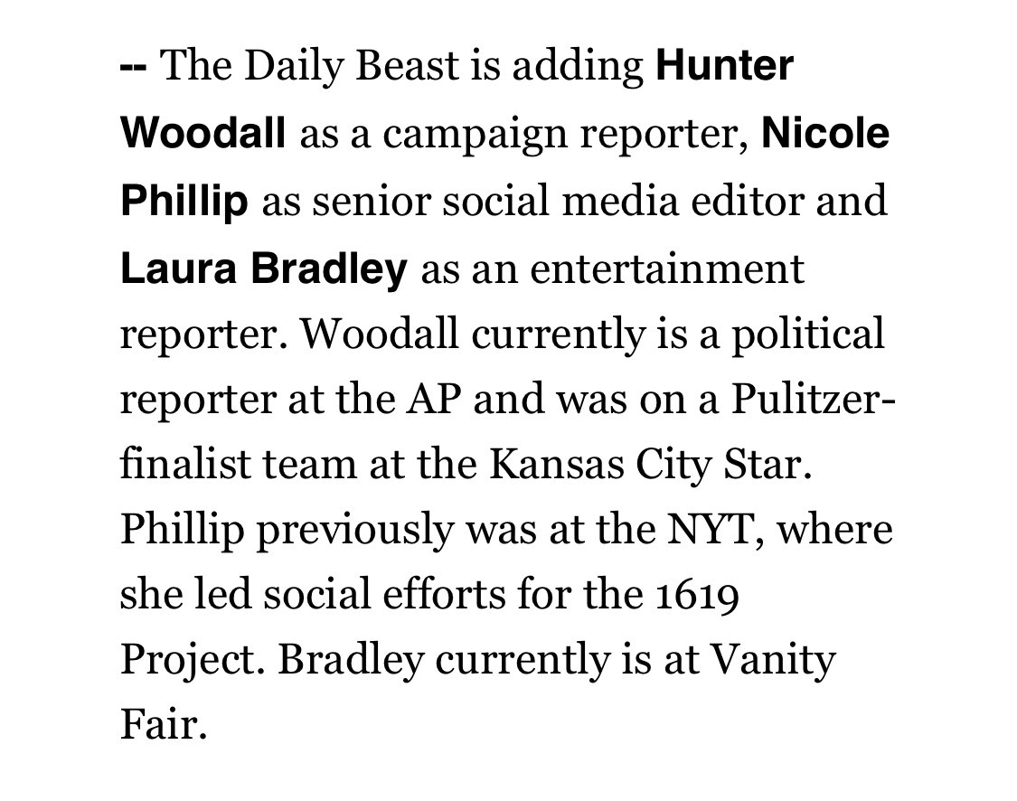 A BIG @thedailybeast DC welcome to @HunterMw who will be joining our 2020 campaign team in February!