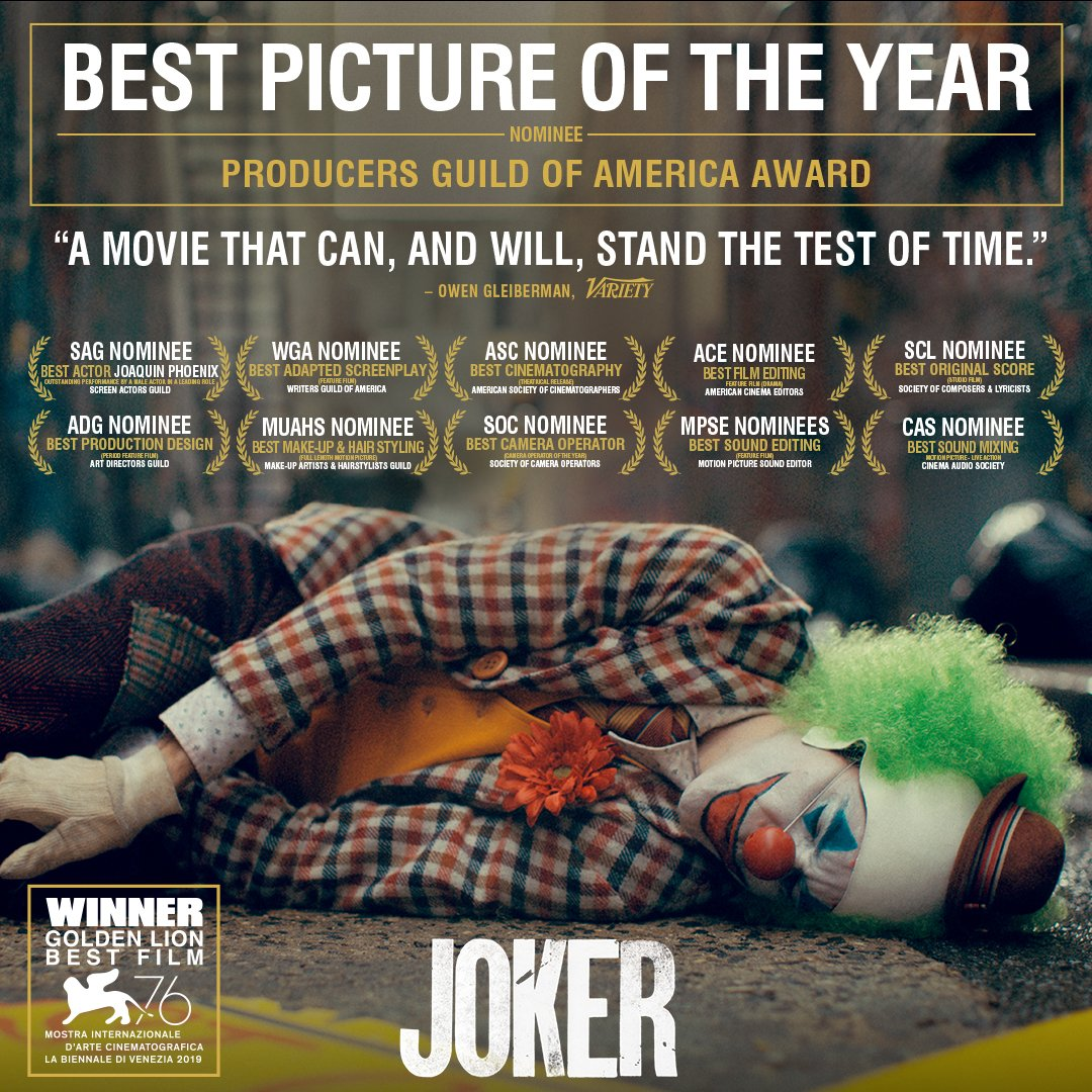 Replying to @jokermovie: #Joker has been nominated by the #PGAAwards - congratulations to everyone involved!