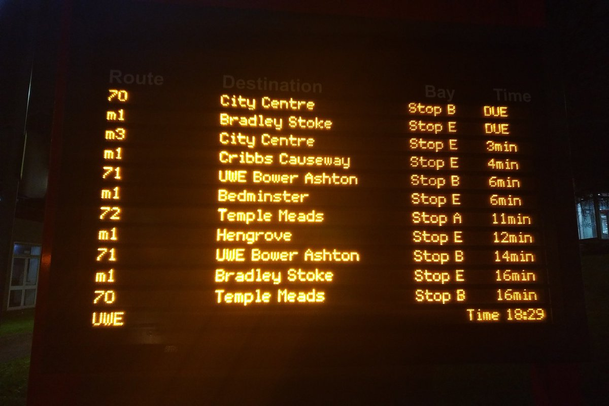 @first_bristol since when stopping at Bus Stop to pick waiting passenger is optional??? that happen just now 3 stops from UWE causing to miss my connecting bus!!!