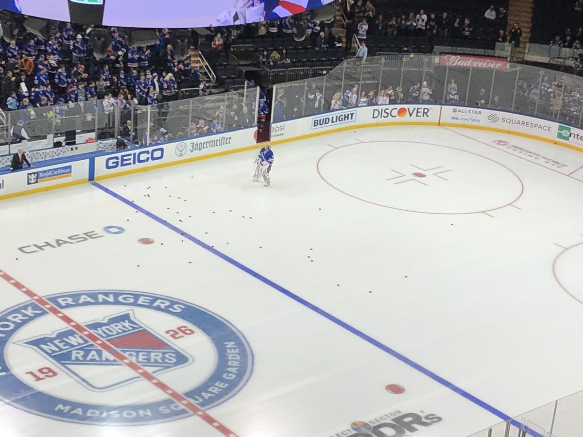 Igor Shesterkin and pucks. The debut treatment for the Rangers starting goalie tonight.