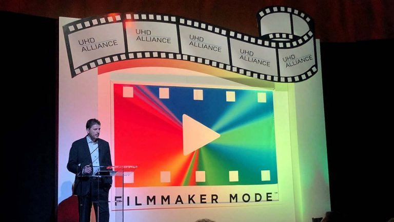 """""""Filmmaker Mode sets the television in a way that maintains filmmaker intent,"""" said @warnerbros VP and @experienceUHD chair Mike Zink as he announced additional support for #FilmmakerMode at #CES2020.  Learn more via @Variety:"""