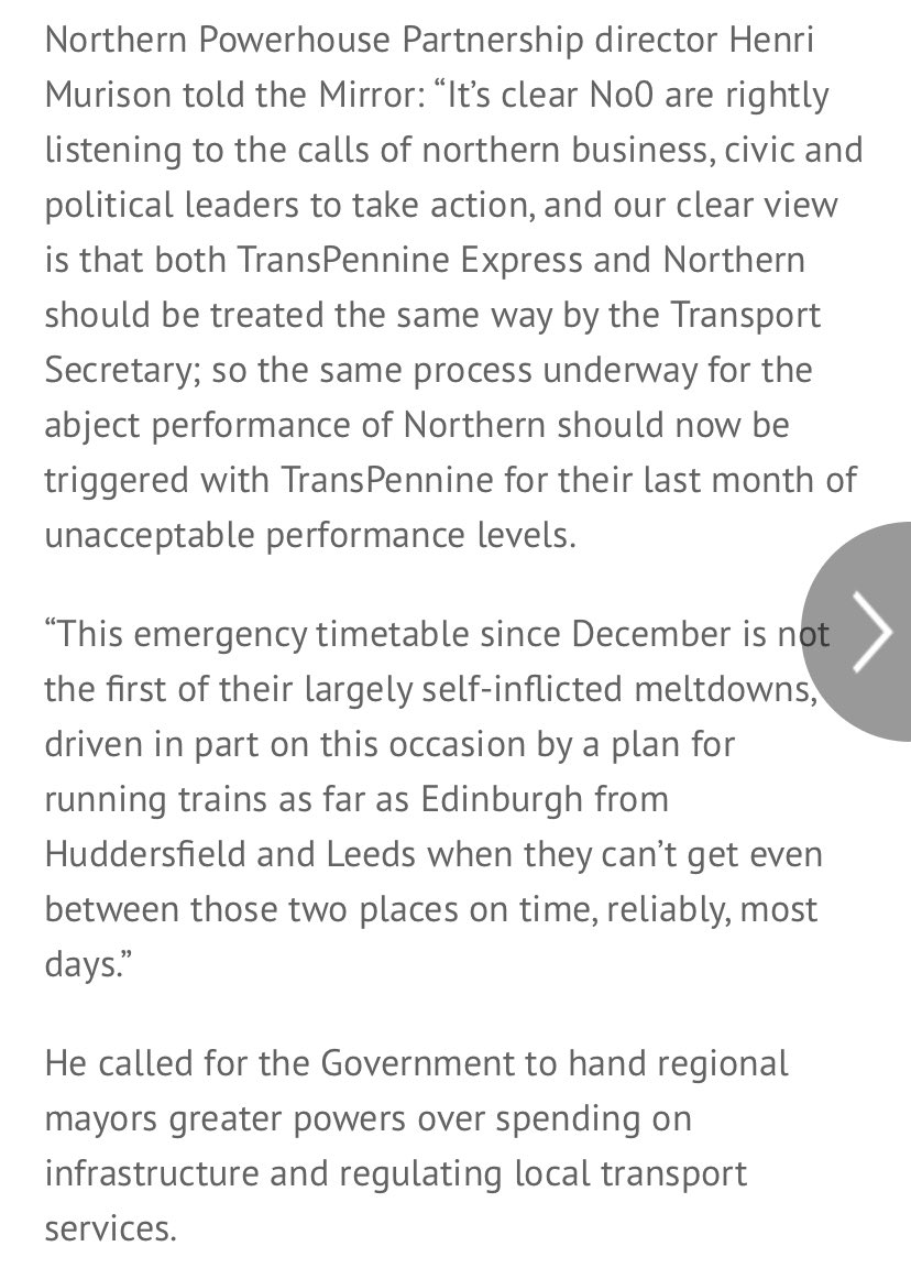 Today spokesperson @BorisJohnson lambasted @TPExpressTrains, reflecting the misery of travelling public as reported @OpinionYP & @AndyBurnhamGM has referenced in his interviews on issues @Channel4News. At @NP_Partnership we believe we need action plus @rail_review implemented. twitter.com/benglaze/statu…