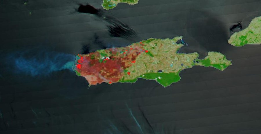 These images taken by the Terra satellite and enhanced by using correction reflectance bands on the MODIS (Moderation Resolution Imaging Spectroradiometer) highlight in brighter colors the areas on Kangaroo Island that have been burned by the bushfires in late December 2019 and early January 2020.