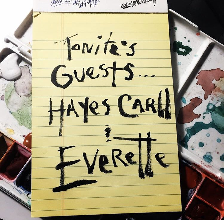 Tonite's guests... @hayescarll and @EveretteTheBand @TheBasementNash https://t.co/KFv5mzG51f
