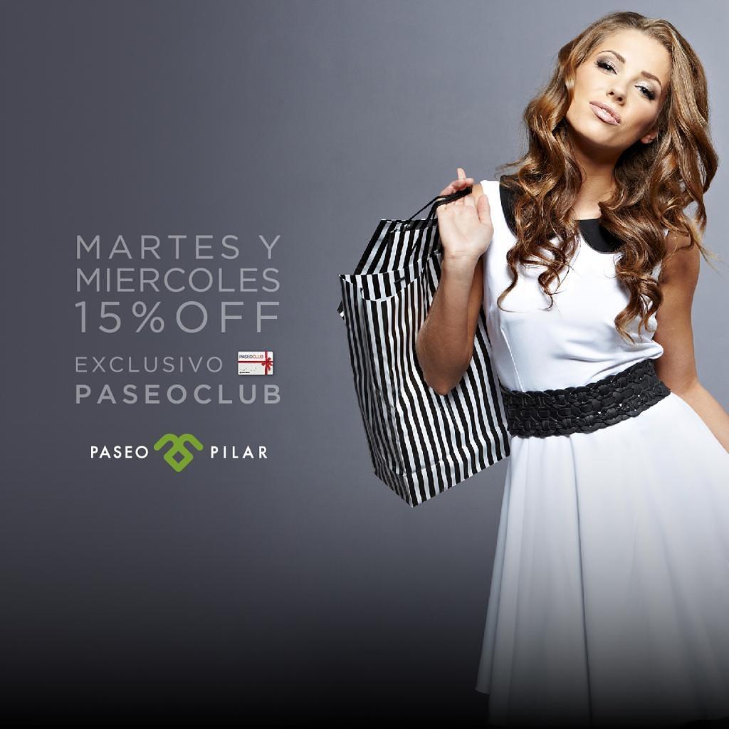 Los Martes y Miércoles son días de descuentos en @paseopilar ! Presentando tu tarjeta #PaseoClub, disfrutá un 15% off*  en locales adheridos !!!  Si aún no sos socio, adherite en http://www.paseoclub.com.ar o at. al cliente, es gratis! . * Condiciones: http://www.paseopilar.compic.twitter.com/SaUiUYoOgH