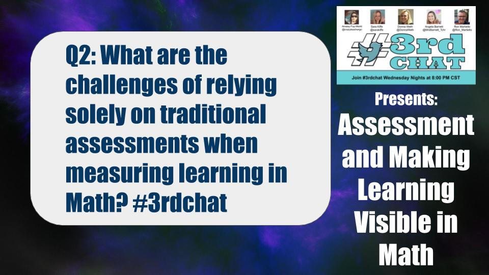 Q2: What are the challenges of relying solely on traditional assessments when measuring learning in Math? #3rdchat