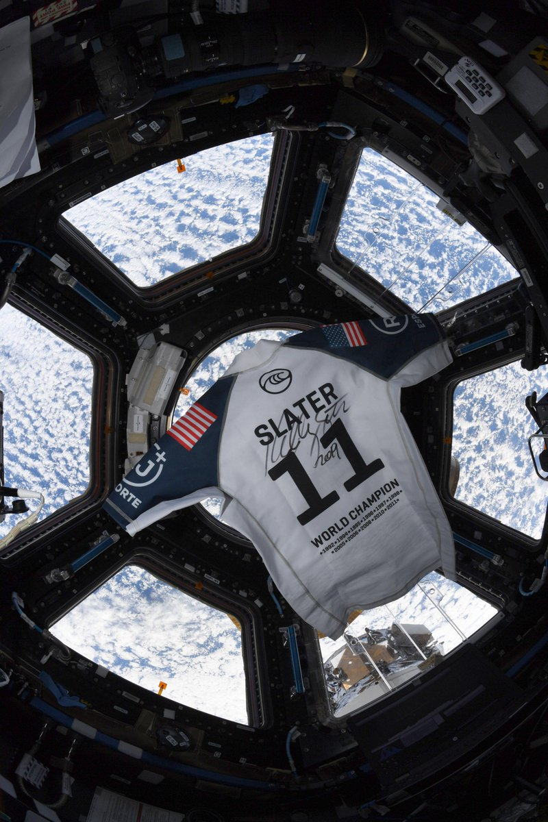 Surfing legend @kellyslater's @wsl jersey made its way aboard the International Space Station with surfing fan and @NASA Astronaut, @Astro_Christina.  (via @kellyslater)