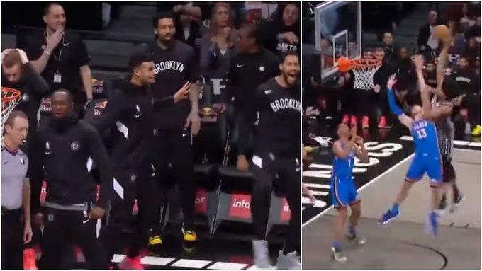 【影片】NBA上演羞辱式隔扣!2米08中鋒慘成背景帝,籃網後補席一片震驚!
