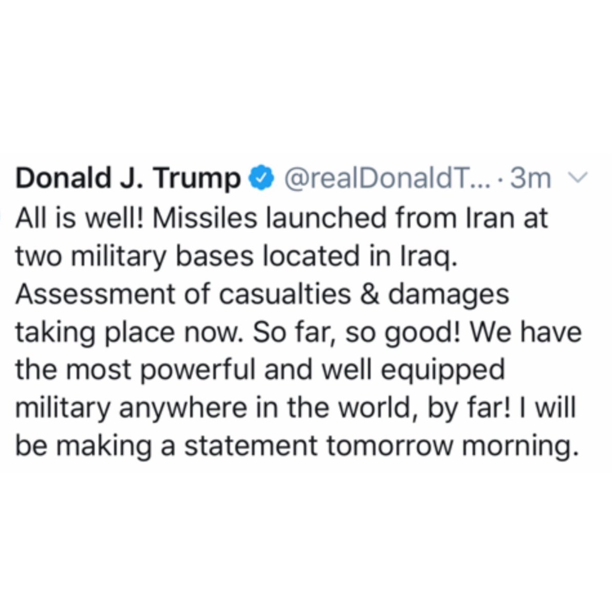 #PresidentTrump had this to say in regards to #Iran's attack on two military bases in #Iraq...thoughts? 👇🤔