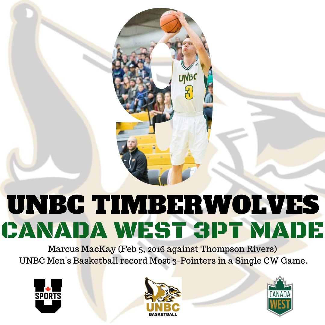 On February 5, 2016, @marcusmacKay8 set the @UNBCATHLETICS record for most 3-pointers in a single Canada West game with 9.  #unbc #unbctimberwolves #unbcbasketball  #princegeorge #canadawest #usports #alltimetimberwolves #gotwolves #runasonepic.twitter.com/6mFz7aUFHn