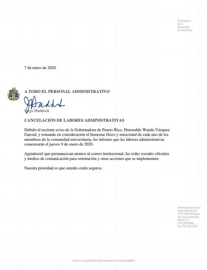 Cancelan labores administrativas en la @UPR_Oficial