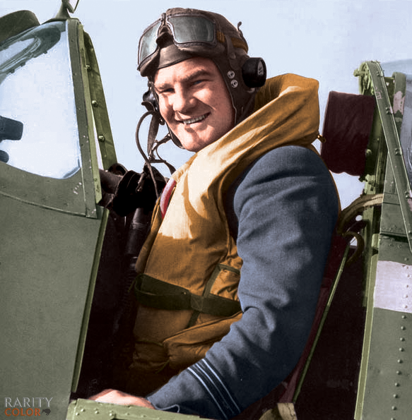 Squadron Leader Alan Deere sitting in a Spitfire Mk Vb.  Colorized by Daniel Rarity  #Kiwi #NewZealand #NZ #Spitifre #fighterpilot #pilot #ace #squadronleader #RNZAF #WWII #colourised #colorized https://t.co/GH4gKpjQ07