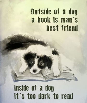 ' Outside of a dog a book is man's best friend inside of a dog it's too dark to real'