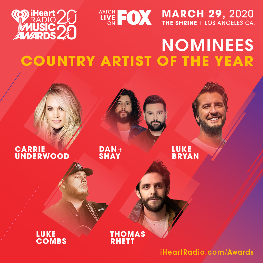 Whoop! Look at this. The #iHeartAwards Country Artist Of The Year Nominees include @carrieunderwood, @DanAndShay, @LukeBryanOnline, @lukecombs, U @ThomasRhett! iheart.com/music-awards/