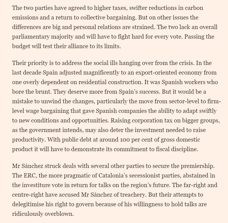 The @financialtimes editorial on Spains new government: The far-right and centre-right have accused Sánchez of treachery. But their attempts to delegitimise his right to govern...are ridiculously overblown. ft.com/content/70a800… via @financialtimes