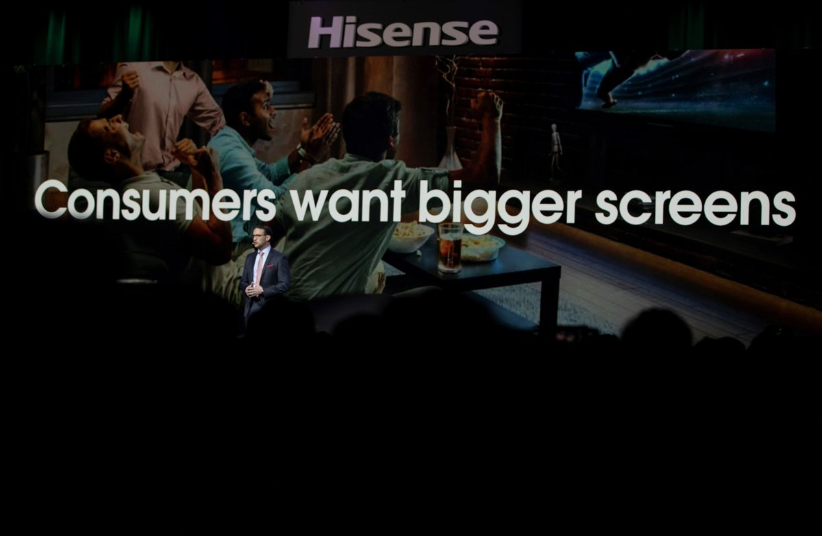 Consumers want bigger TVs than ever before 😲  What do you think about the growing desire for bigger TV screens in the home?  #Hisense #CES2020