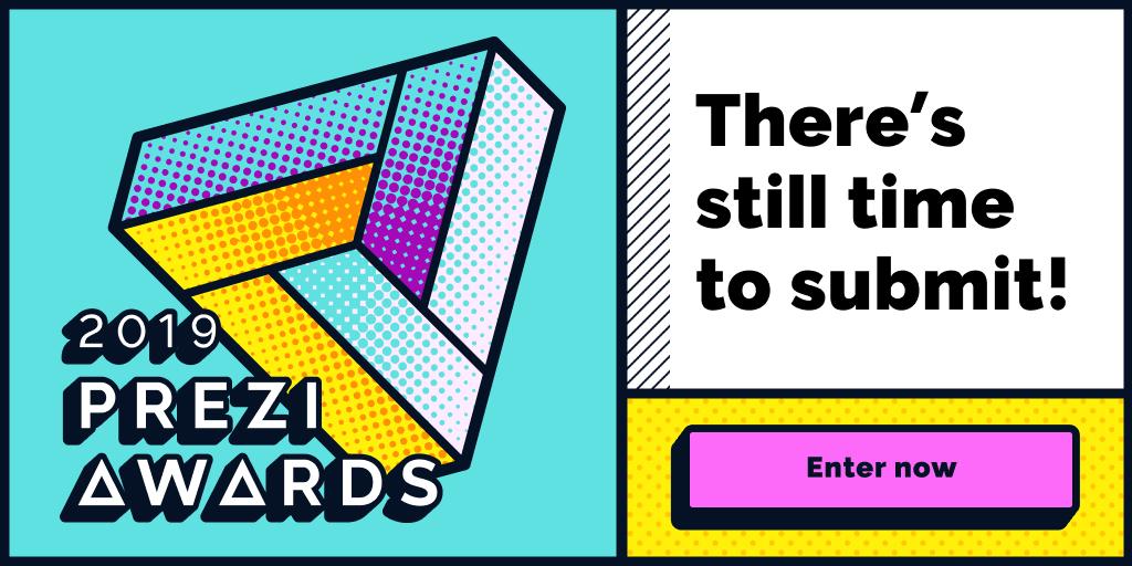 Es hora de mostrarnos tus mejores trabajos: envía tu presentación o #Prezi video para optar a ganar los #PreziAwards2019. Fecha límite: 10 de enero de 2020. ¡Vamos! https://t.co/LJVQE2WufJ https://t.co/tNwDVjLzqo