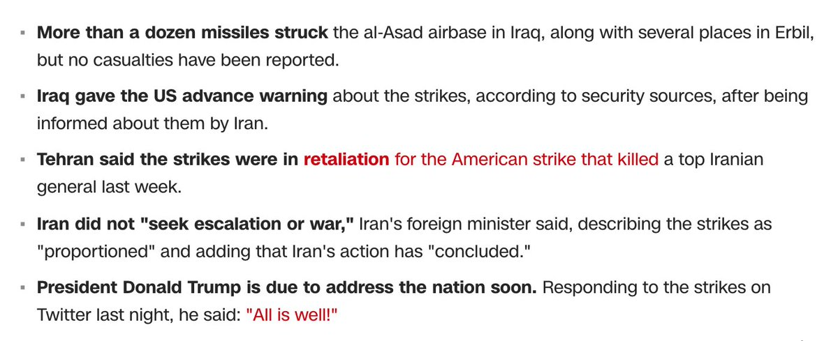 If you're just waking up, here's what's happening:  ■ Iran launched a ballistic missile attack at two Iraqi bases which house US troops in the early hours of Wednesday morning local time.   Here's what you need to know: https://cnn.it/2QAhYLd