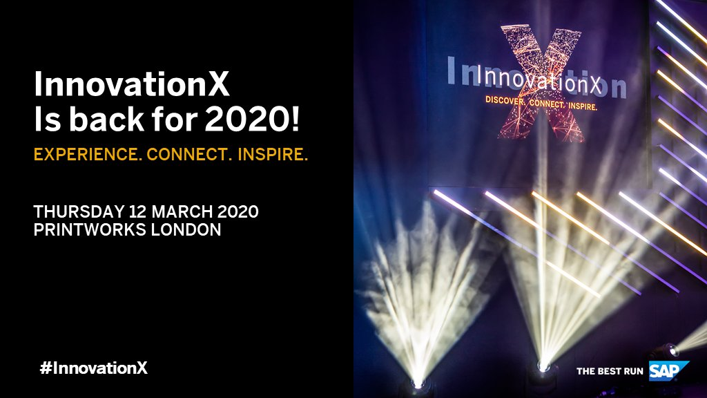 Get ready to experience innovation at its best! Join us at the Printworks, London on the 12th March for #InnovationX! Register here: http://sap.to/60121wxcm