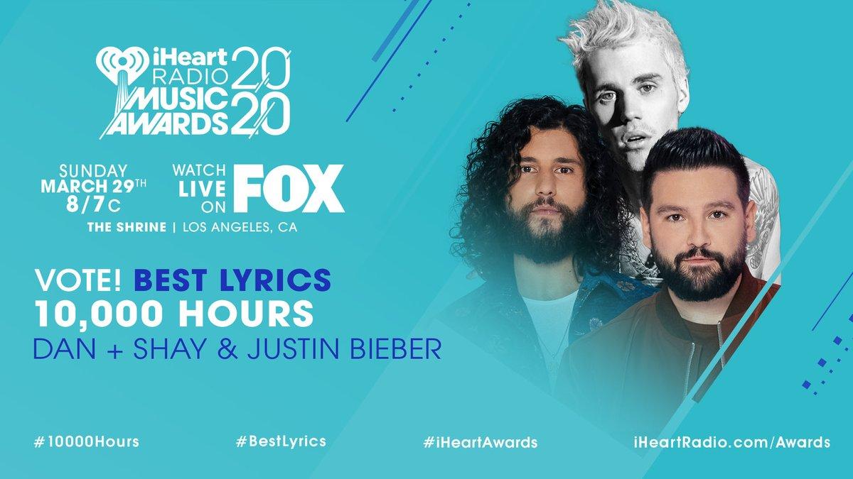 ✨ @DanAndShay x @justinbieber ✨ #10000Hours #BestLyrics #iHeartAwards iHeartRadio.com/Awards